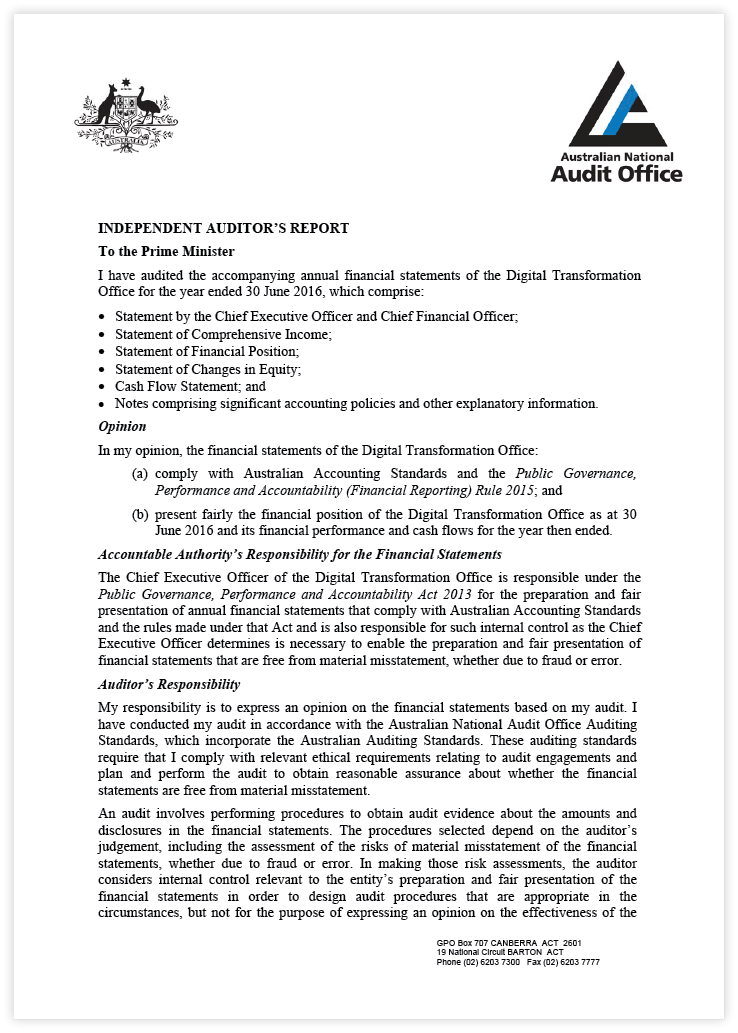Auditor's Report Page 1. Use above link for the full text version.