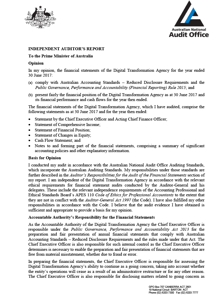 Page 1 of the Independent Auditor's report from the Australian National Audit Office.