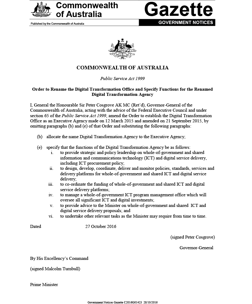 A government notice declaring the renaming of the Digital Transformation Office to the Digital Transformation Agency.