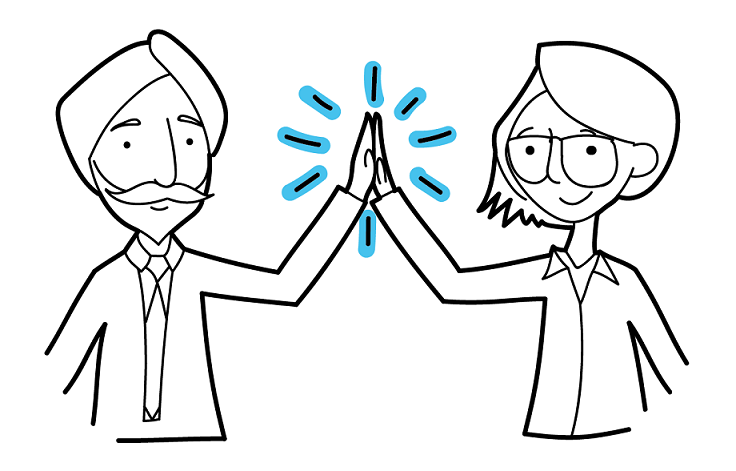 decorative illustration of two people giving each other a high five