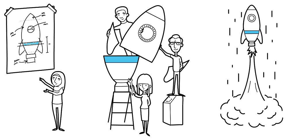 decorative illustration showing people planning, building and flying a rocket.