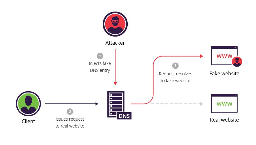 A workflow showing how DNS spoofing works. It shows both a client and an attacker accessing the DNS. The client issues a request to a real website, while the attacker injects a fake DNS entry. The DNS then directs traffic to either a fake website in the case of a fake DNS entry, or a real website.- Source: Incapsula (CC-BY) [https://www.incapsula.com/web-application-security/dnssec.html]