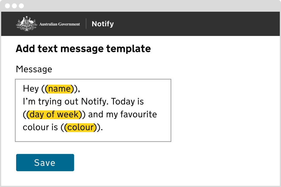 Notify: Add text image template