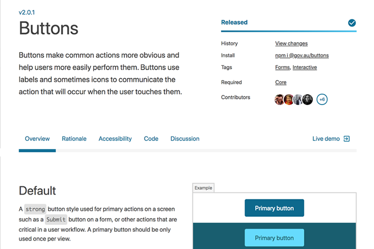 A screenshot of the design system website looking at the buttons documentation.