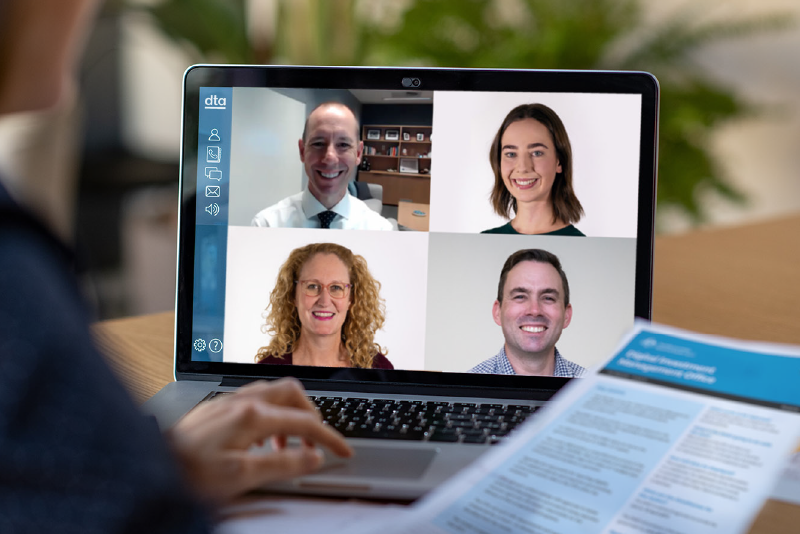 A video chat with four users.