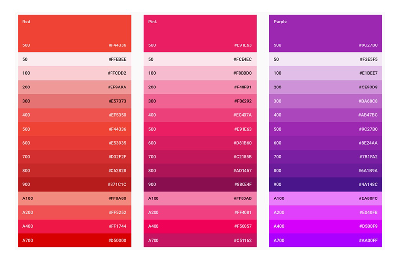 A set of three Google material design palettes. This demonstrates that while there is a good range of colours, they are limited in the lighter tones.