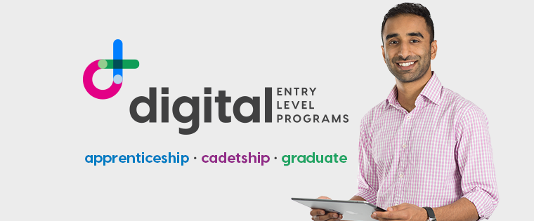 A man holding a laptop. Digital entry level programs: apprenticeship, cadetship, graduate.