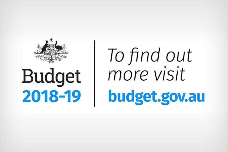 On the left there is the Australian Government crest with the words Budget 2018-19. On the right there are the words To find out more visit budget.gov.au
