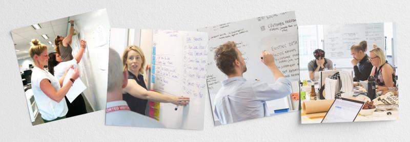 Four images of people working together and writing on whiteboards.