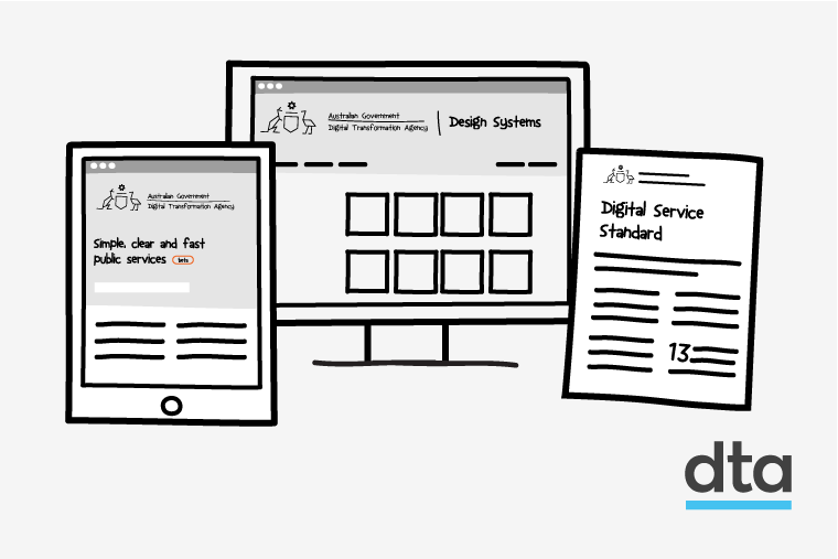 3 hand drawn images of the DTA beta website on a tablet, design systems on a desktop computer and the Digital Service Standard on a piece of paper.