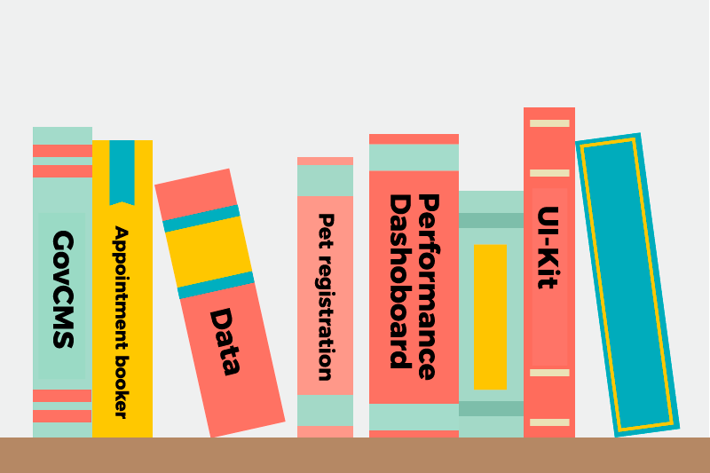 An illustration showing books on a shelf