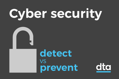A tile with an image of a padlock, the words cyber security and detect vs prevent.