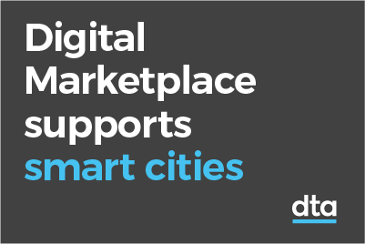 A tile with the words Digital Marketplace supports smart cities.