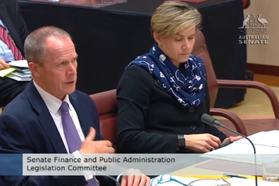 Gavin Slater and Lesley Seebeck at Senate Estimates on 23 October 2017.
