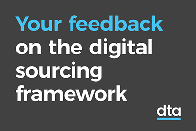 A tile that says 'your feedback on the digital sourcing framework'