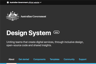 A screenshot of the Australian Government Design System website header.