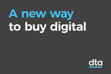 A tile with the words  'a new way to buy digital'