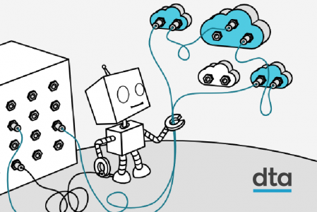 An illustration of a robot holding clouds to resemble how APIs work.