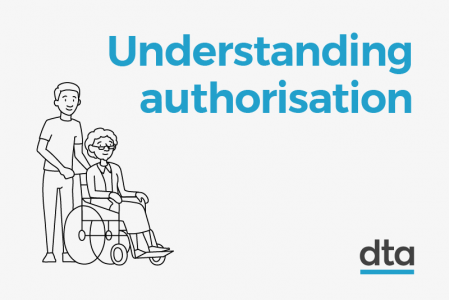 Understanding authorisation - with an illustration of a man pushing an older woman in a wheelchair
