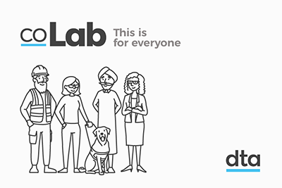 sketched people standing underneath a co-Lab logo with the words 'This is for everyone'