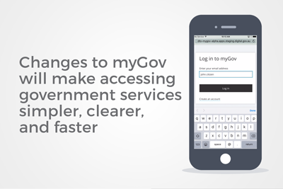 A phone with a login screen next to text saying Changes to myGov will make accessing government services simpler, clearer and faster.