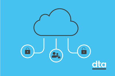 A stylised image of a cloud with a closed lock, two stylised people with a closed lock, and an open lock.