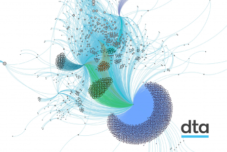 A complex graphical representation of the linkages between sites on the .gov.au domain. It shows many, many small dots of different colours connected together to show how the sites in the domain are connected. In total, it looks like a jellyfish.