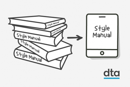 A stack of style manual books with an arrow pointing to a digital version on a tablet.