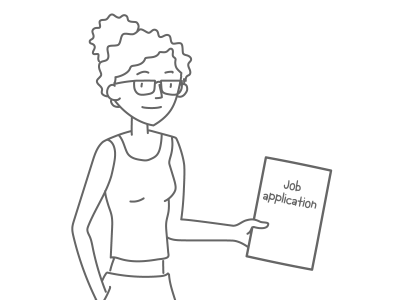 A woman holding a job application.
